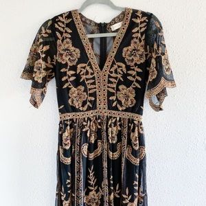 Black and Rainbow Embroidered Dress
